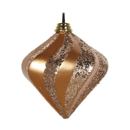 Vickerman M133248 Sand Gold Candy Glitter Swirl Diamond Ornament, 6 in.