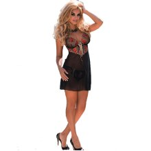 Roza Natali Black and Red Embroidery Chemise