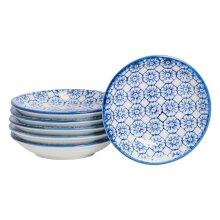 Sauce Dipping Tray Teabag Dish Tapas Sushi Serving Bowl Tidy - Blue Flower x6