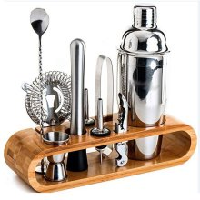 10pc Stainless Steel Cocktail Maker Kit With Bamboo Stand