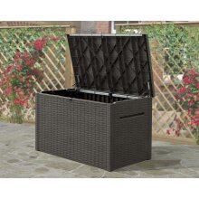 Keter Outdoor Storage Box Java 870L Brown Rattan Look Home Trunk Chest