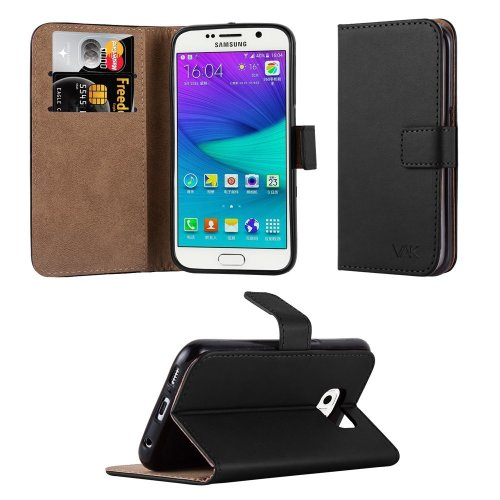 For Galaxy S6 Premium Leather Wallet Case Cover