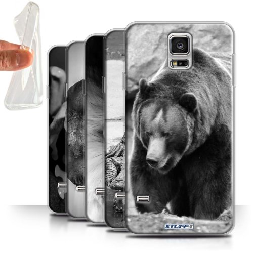Mono Zoo Animals Samsung Galaxy S5/SV Phone Case Transparent Clear Ultra Soft Flexi Silicone Gel/TPU Bumper Cover for Samsung Galaxy S5/SV