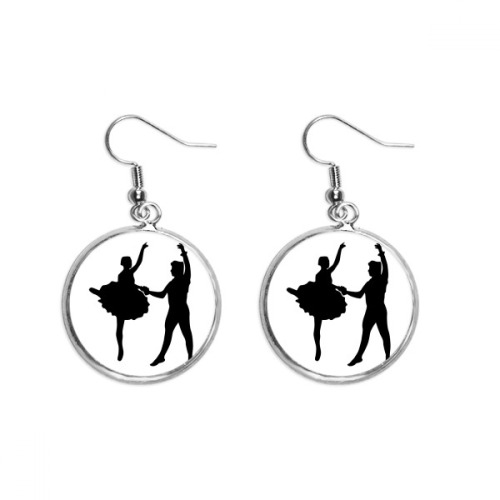 Sports Performance Dancer Duet Dance Ear Dangle Silver Drop Earring Jewelry Woman