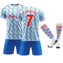 Cristiano Ronaldo 7# Cr7 Jersey Home 2021-2022 Season Soccer T-shirts Jersey Kit For Kids Youths