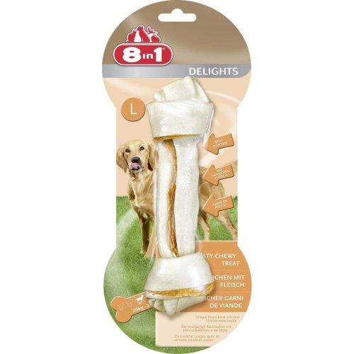 8in1 Dog Delights Rawhide Bones Lge (Pack of 6)