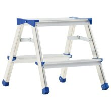 vidaXL Aluminium Double-Sided Step Ladder 2 Steps Multi-Purpose Folding Step