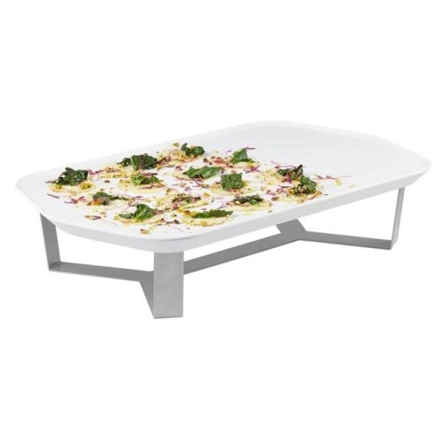 Rosseto SM271 Forme Melamine Tray & 4 in. Riser Set, White Rectangle