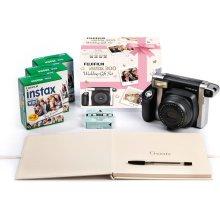FUJIFILM Instax WIDE 300 Instant Camera Wedding Bundle - Black & Silver, Black