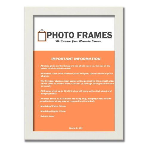 (White, A6- 148x105mm) Picture Photo Frames Flat Wooden Effect Photo Frames