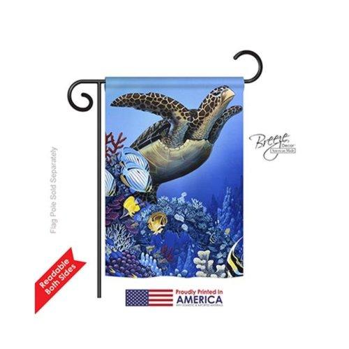 Breeze Decor 60067 Wildlife & Lodge Flight of the Sea Turtle 2-Sided Impression Garden Flag - 13 x 18.5 in.