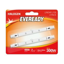 Eveready ECO Halogen 230W (300W Equivalent) Linear Light Bulb, Pack of 2, R7s, 300 W
