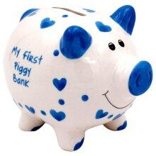 Ceramic Blue My First Piggy Bank Kids Fund Savings Pot Childrens Cash Coin Box
