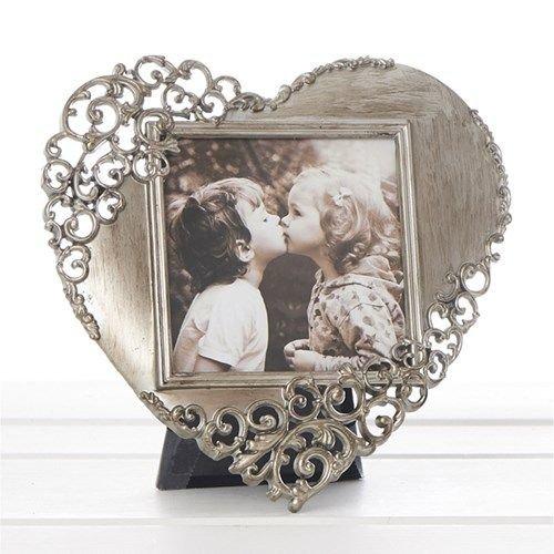 Vintage Lace Ornate Rustic Metal Heart Photo Frame - 3cm x 3cm