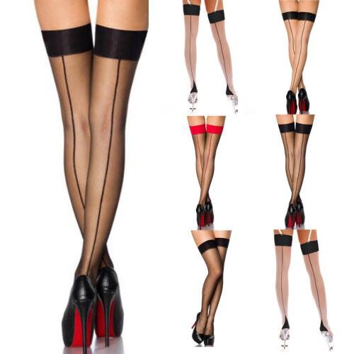 Women's Sexy Stocking Lycra Thigh High With Contrasting Backseam And Cuban Heel