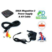 SEGA Mega Drive 2 Power Supply UK Plug + AV Lead Bundle MEGADRIVE