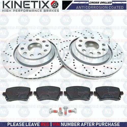 FOR AUDI A3 3.2 V6 REAR KINETIX CROSS DRILLED BRAKE DISCS PLATINUM PADS 310mm