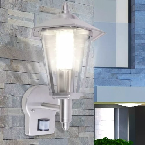 vidaXL Outdoor Uplight Wall Lantern with Sensor Stainless Steel Security Light