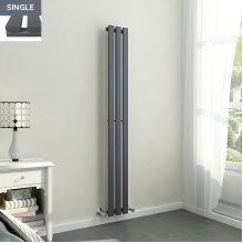 Lulea 1600 x 200mm Anthracite Single Rectangular Panel Vertical Radiator