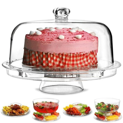 GEEZY 6 in 1 Cake Stand with Dome Lid Dip Platter Salad Bowl Cupcake Serving Dish Tray, Multi-functional