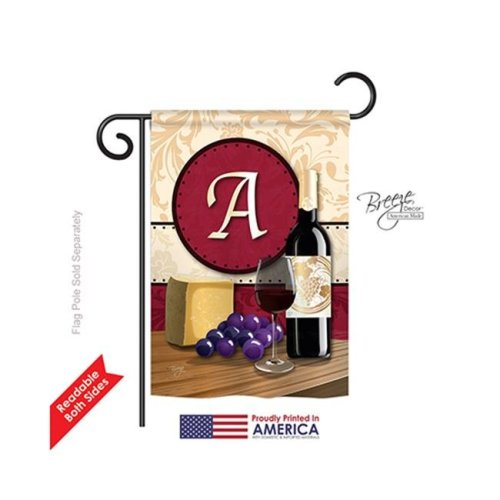 Breeze Decor 80209 Wine A Monogram 2-Sided Impression Garden Flag - 13 x 18.5 in.