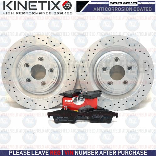 FOR JAGUAR XF REAR PERFORMANCE CROSS DRILLED BRAKE DISCS MINTEX PADS 326mm