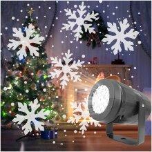 Snowflake LED Christmas Projector Lights Rotating Snowfall Landscape Lamp