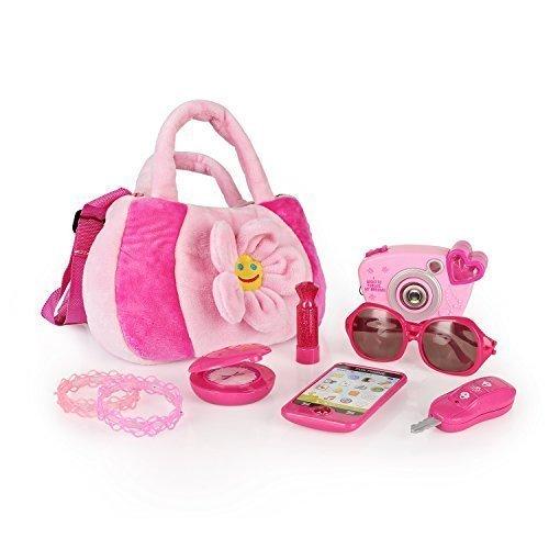 SainSmart Jr. My First Purse Pretend Playset Pretty Purse Set Pink Handbag, Accessories Playset for Little Girls, 8 PCS