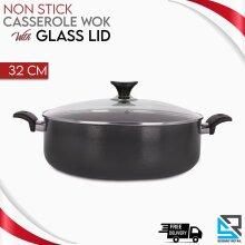 Non Stick Casserole Wok Deep Frying Pan Flat Bottomed Glass Lid 32 Cm