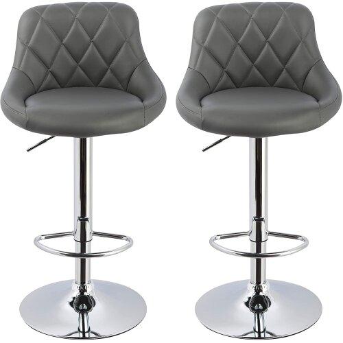 (2 pcs (grey)) Bar Stools CounterStoolsBreakfast Barstools Chairs Grey / White / Black (2pcs/4pcs)