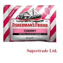 6 X Fisherman's Friend Cherry Menthol Sugar Free Lozenges Sweeteners - 25g