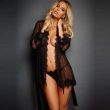 Women Sexy Nightwear Flora Lace Lingerie Robe Dress & Satin Waist Tie