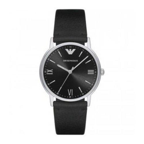Men's Emporio Armani Black Leather Strap Watch
