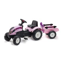 Falk Pedal Tractor and Trailer with Shovel (Pink)