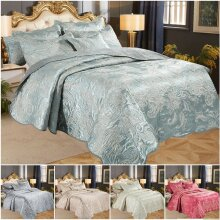 Luxury 3 Piece Embroidered Quilted Bedspread Throw
