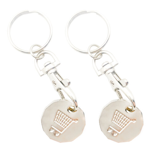 2pk Trolly Coin Keyring Set | Stainless Steel Key and Trolley