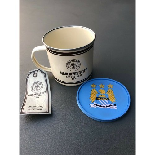 Man City Retro Mug and Coaster Set - Ideal Football Gift