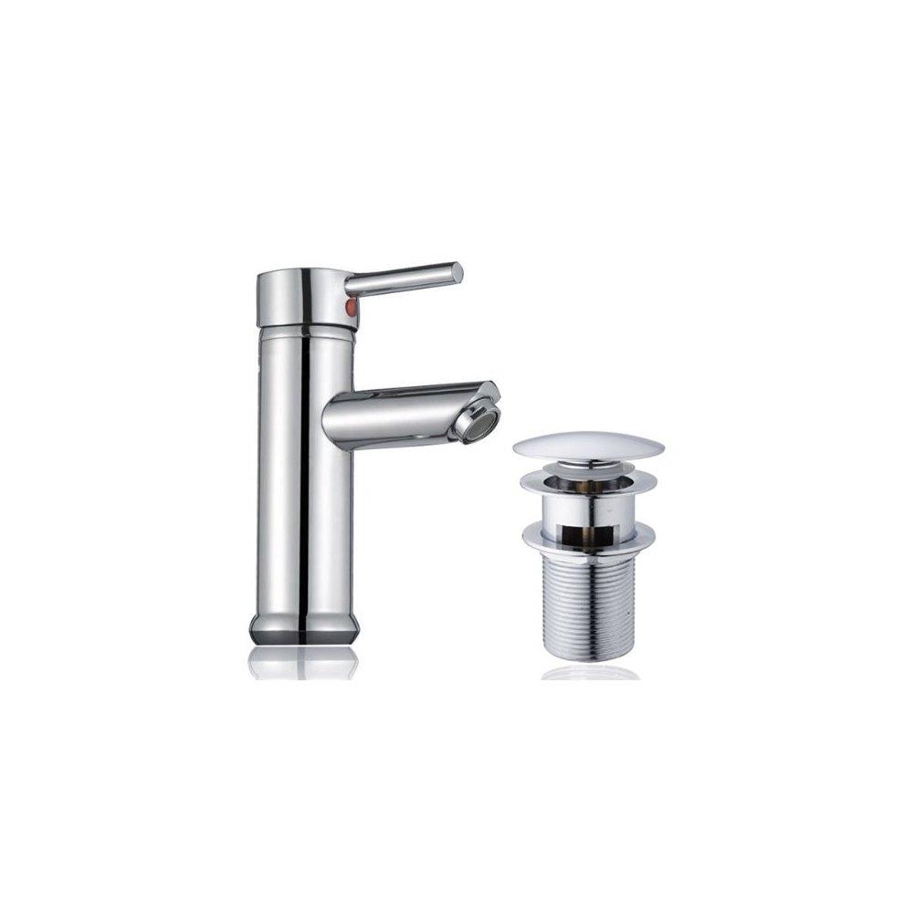 Hapilife Bathroom Sink Washroom Basin Single Lever Chrome Brass Mixer Tap With Pop Up Waste