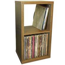 CUBE - 2 Cubby Square Display Shelves / Vinyl LP Record Storage - Oak