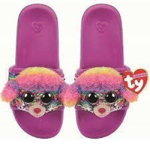 TY Flippable Sequin Flip Flops - Rainbow The Poodle - Size Medium (13J-2)
