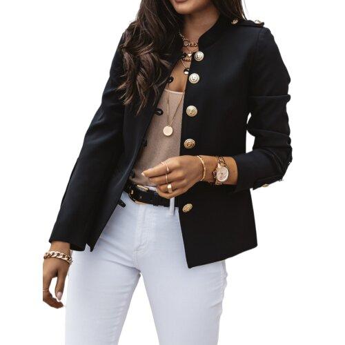 (Black, S) Womens Overcoat Casual Blazer Long Sleeve Jacket Coat Office OL Slim Fit Outwear