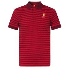 Liverpool FC Official Football Gift Mens Yarn Dye Marl Striped Polo Shirt