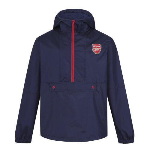 (Navy Half Zip, Small) Arsenal FC Official Football Gift Mens Shower Jacket Windbreaker