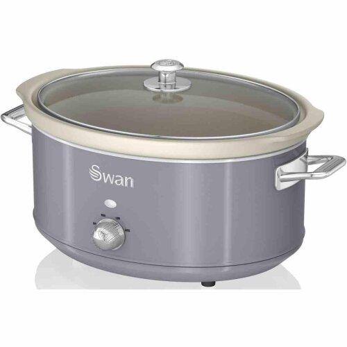 (Grey) Swan 6.5L Slow Cooker Retro