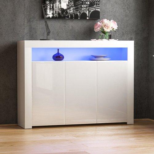 (White) Nova 3 Door LED Sideboard High Gloss Cabinet Unit
