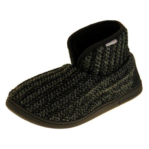 (Black, UK 7(M)) Dunlop Mens Faux Fur Slipper Boots
