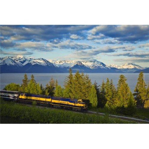 Alaska Railroad Passes in Front of Turnagain Arm Near Bird Point Heading Towards Anchorage Alaska During Summer Poster Print, 17 x 11