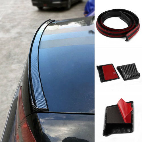 ENET 4.9ft 1.5M Carbon Fiber Car PU Rear Roof Spoilers Trunk Pumber Wings Lip Sticker