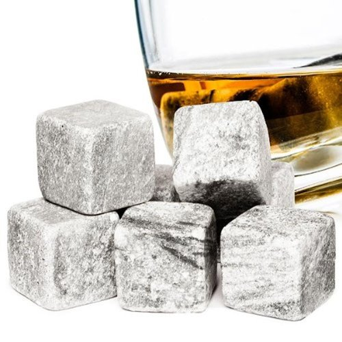 9pc Hyfive Reusable Ice Cubes With Velvet Pouch | Granite Whiskey Stones