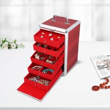 Five tier jewellery box -Red